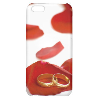 wedding rings over red rose petals iPhone 5C covers