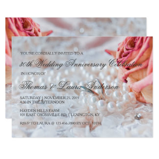 Wedding Rings Pearls 30th Wedding Anniversary Card