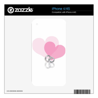 Wedding Rings Platinum Band with Hearts pink Decals For The iPhone 4