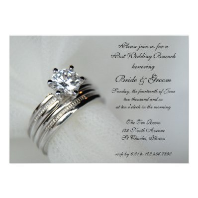 Wedding Rings Post Wedding Brunch Invitation