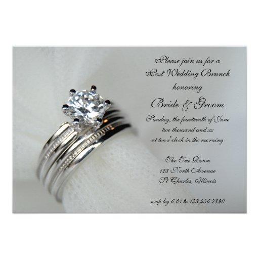 Wedding rings post wedding brunch invitation 5quot x 7 for Pictures of wedding rings for invitations