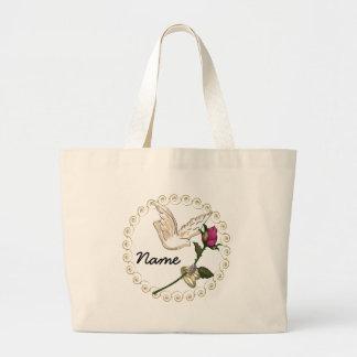 Wedding Rings Rose Name Large Tote Bag