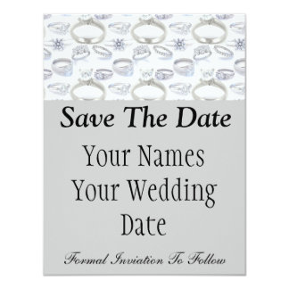 Wedding Rings Save the Date 4.25x5.5 Paper Invitation Card