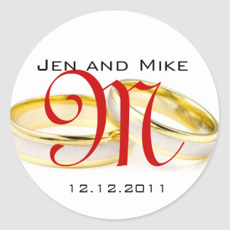 Wedding Rings Save the Date Monogram Stickers
