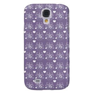 Wedding rings silver on dark purple galaxy s4 cover