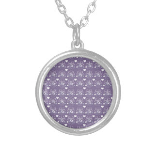 Wedding rings silver on dark purple silver plated necklace