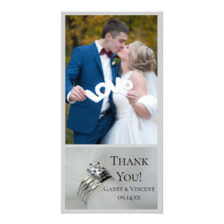 Wedding Rings Thank You Photo Card