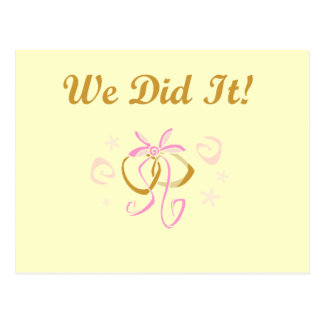 Wedding Rings We Did It T-shirts and Gifts Postcard