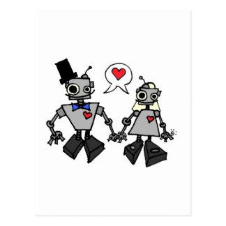 Wedding robots postcard