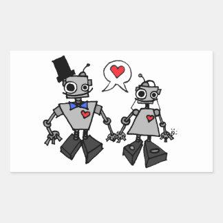 Wedding robots rectangular sticker