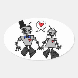 Wedding robots oval sticker