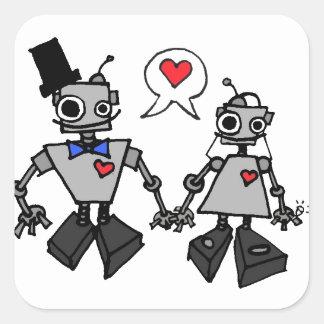 Wedding robots square sticker