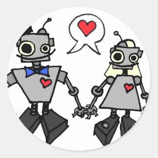 Wedding robots classic round sticker