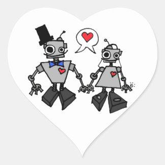 Wedding robots heart sticker