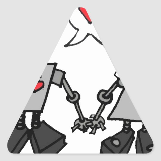 Wedding robots triangle sticker