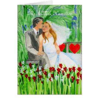 Wedding Romantic Bride and Groom in Garden Card