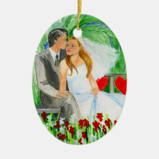 Wedding Romantic Bride and Groom in Garden Double-Sided Oval Ceramic Christmas Ornament