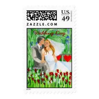 Wedding Romantic Bride and Groom in Garden Stamps