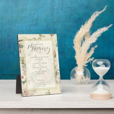 Wedding Romantic Memorial Table Vintage Floral Plaque