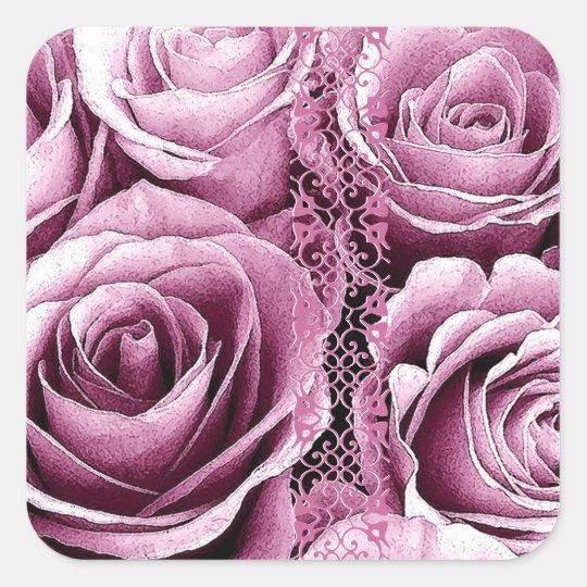 Wedding Rose Bouquet Square Sticker