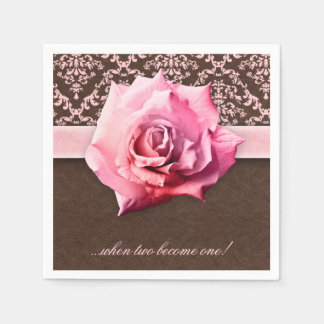 Wedding Rose Flower Damask Leather Vintage Napkin