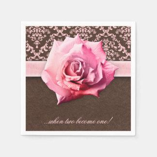 Wedding Rose Flower Damask Leather Vintage Standard Cocktail Napkin