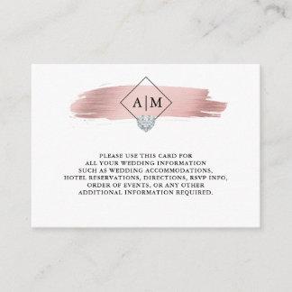 Wedding Rose Gold Foil Heart Monograms DETAILS Enclosure Card