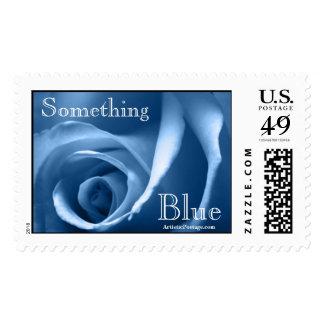 Wedding Rose In Blue Postage Stamp