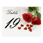 wedding rose table number post cards