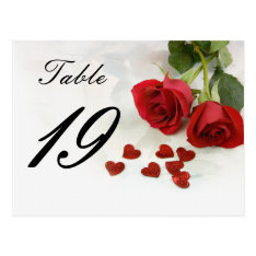 Wedding Rose Table Number Postcard at Zazzle