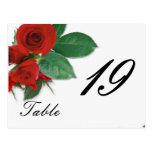 wedding rose table number postcards