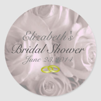 Wedding Roses- Bridal Shower Favor Round Stickers