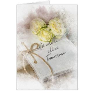 wedding roses on white journal card