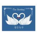 Wedding. RSVP. 2 white swans Postcard