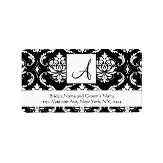 Wedding RSVP Address Labels Damask Monogram