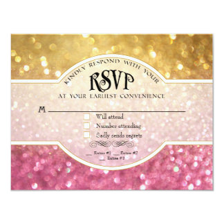 Wedding RSVP Bokeh Movie Ticket Style Gold Pink Announcement