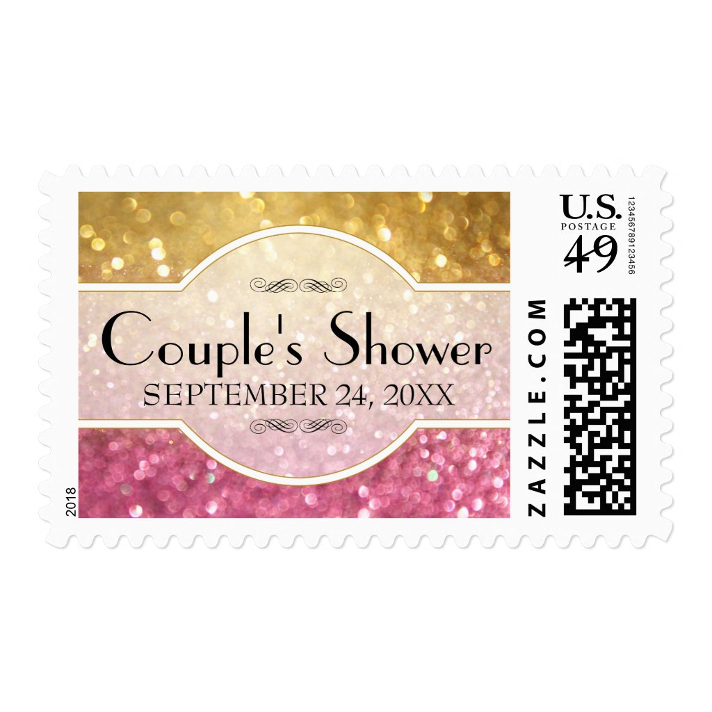 Wedding RSVP Bokeh Movie Ticket Style Gold Pink Postage