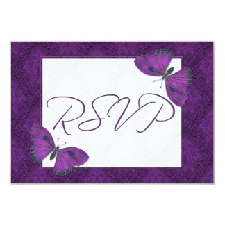 Wedding RSVP Butterfly Brocade Purple Card