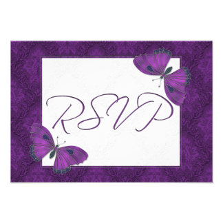 Wedding RSVP Butterfly Brocade Purple Personalized Announcement