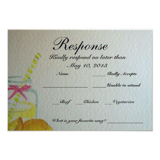 Wedding RSVP Card 35 X 5 Invitation Card