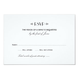 Wedding RSVP Card 1   Art Deco Elegant Style