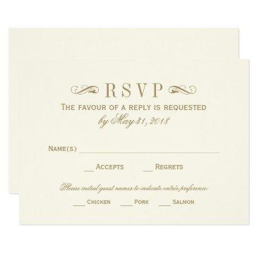 Plush_Paper Wedding RSVP Card | Antique Gold Flourish
