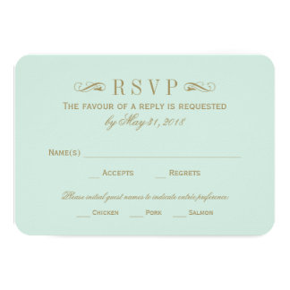 Wedding RSVP Card | Antique Gold Flourish Personalized Invitations