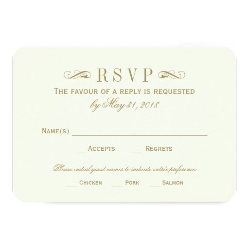 Wedding RSVP Card | Antique Gold Flourish Personalized Invites