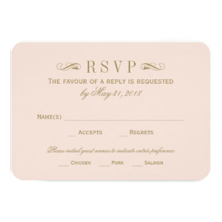 "Wedding RSVP Card | Antique Gold Flourish 3.5"" X 5"" Invitation Card"