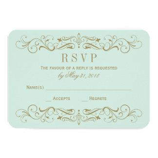 Wedding RSVP Card | Antique Gold Flourish Custom Invites