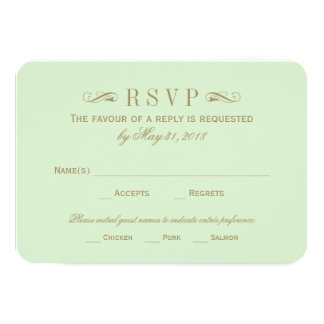 Wedding RSVP Card | Antique Gold Flourish Personalized Invite