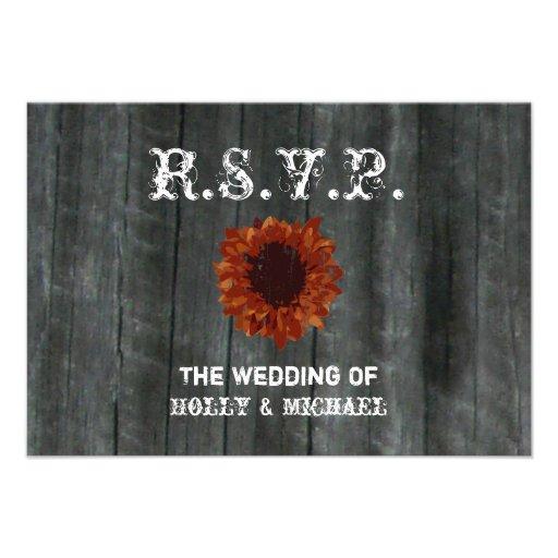 Wedding RSVP Card - Barnwood & Sunflower Invite