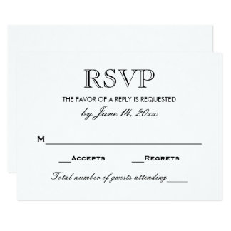 Rsvp cards templates zazzle wedding rsvp card black and white pronofoot35fo Images