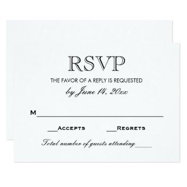 Plush_Paper Wedding RSVP Card | Black and White